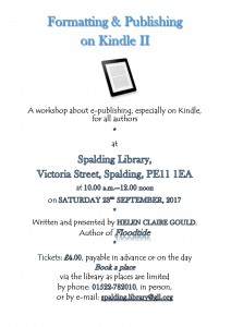 Details of venue, time and date of 2nd September Spalding Library workshop