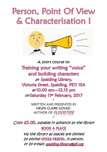 Poster for February writers' workshop at Spalding Library