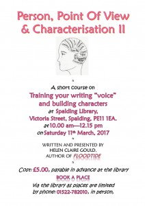 Poster for March writers' workshop