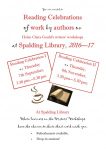 Venue, date and time details for Spalding Library's writing learners' Reading Celebrationg