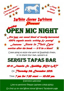 Spalding Christmas Open Mic Night Poster