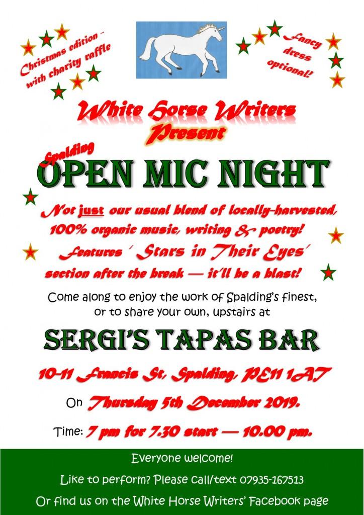 Spalding Christmas Open Mic Night Poster