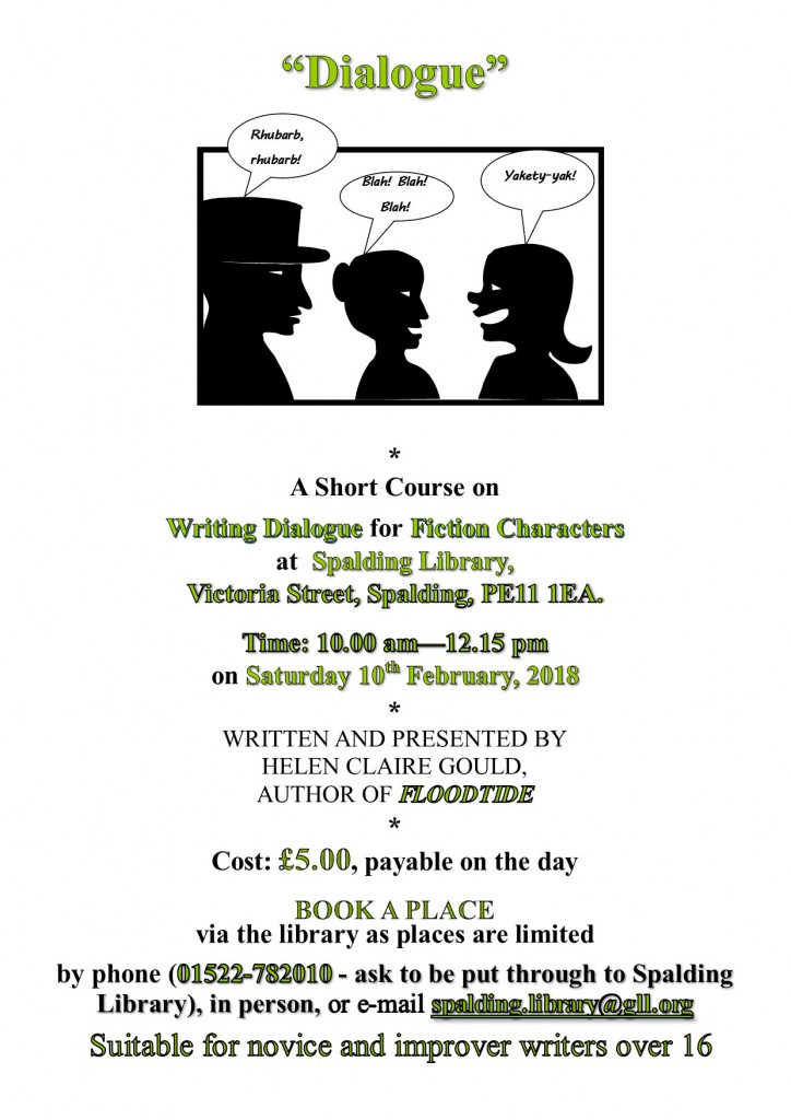 "Poster for ""Dialogue"" workshop at Spalding Library on 10th February."