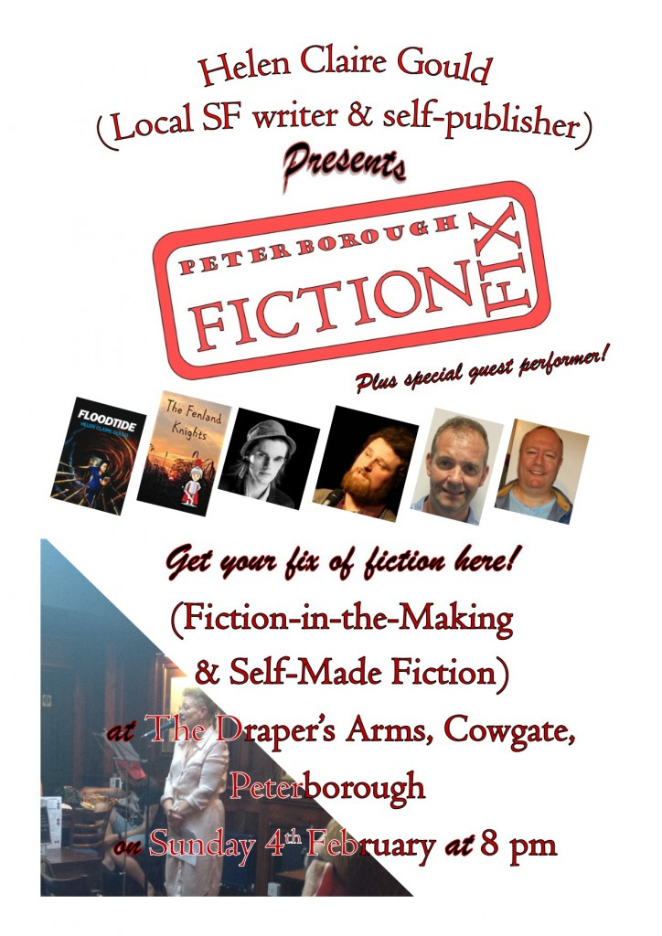 Poster for February 4th Fiction Fix meeting