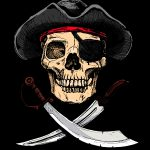 Pirate with crossed cutlasses